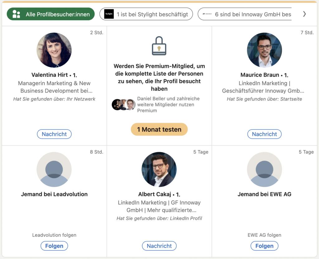 Profilansichten bei LinkedIn, wichtig in der Leadgenerierung